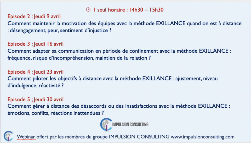 Programme WEBINARS liés au confinement - Avril 2020 - Impulsion Consulting